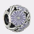 Authentic Pandora Sterling Silver Daisy Meadow Lavender Enamel Bead 791487EN66