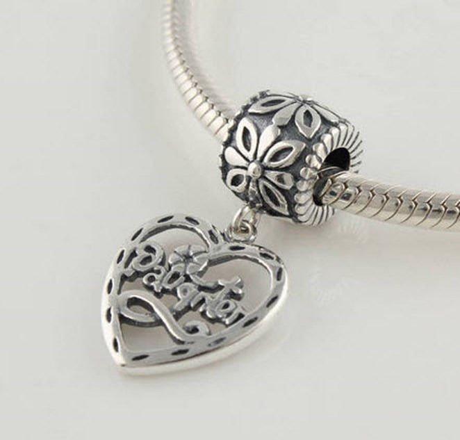 Sterling Silver European Charm Daughter Heart Dangle Bead