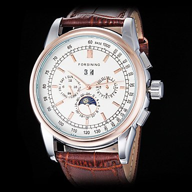 Men's Auto-Mechanical Six Pointers Rose Gold Case Leather Band Wrist Watch