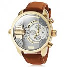 Men's Dual Time Zones Gold Case Khaki Leather Band Quartz Wrist Watch - SPECIAL