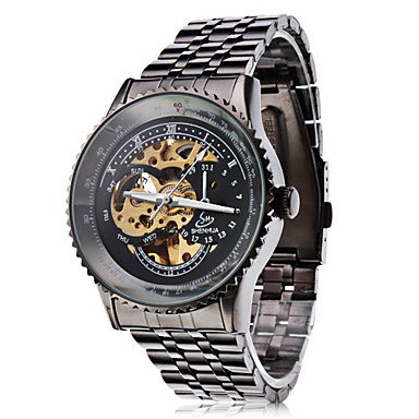 Men's Auto-Mechanical Hollow Black Dial Steel Band Wrist Watch - DISCOUNTED