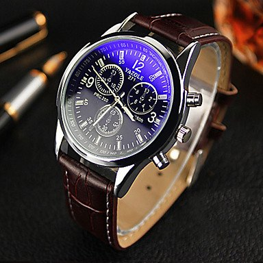 Men's Leather Strap Three Dashboard Blue Ray Glass Casual Quartz Wrist Watch
