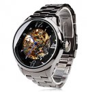 Men's Auto-Mechanical Hollow Dial Black Steel Band Wrist Watch - SPECIAL PRICE