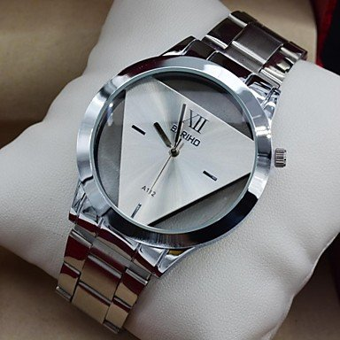 ** Men's Watch Fashion Transperant Triangular Dial Full Steel Dress Wrist Watch