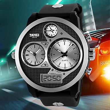 Men's Tough Design Three Time Zones Black Rubber Band Wrist Watch