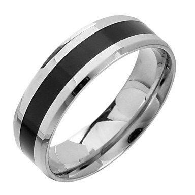 ** Men's Fashion Black And White Titanium Steel Band Ring **