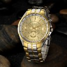 Men's Gold Round Dial Alloy Band Quartz Analog Wrist Watch