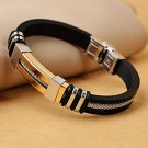 ** Classic Men's High Quality Stainless Steel Wrap Leather Bracelets **
