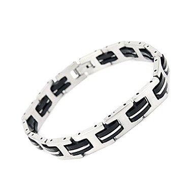 ** Men's Fashion Silica Gel and Titanium Steel Bracelet **