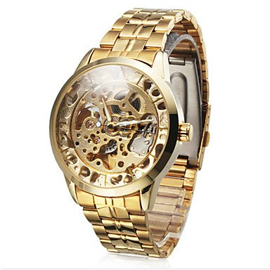 ** Men's Watch Auto-Mechanical Hollow Engraving Full Stainless Steel Band **