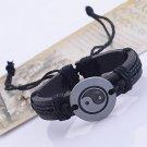 ** Men's Chinese Tai JiCharm Leather Braided Bracelet **
