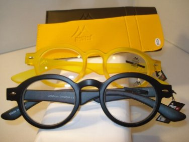 2 PAIR AUTH MONTANA VINTAGE ROUND READING GLASSES READERS BLACK & YELLOW 2.00