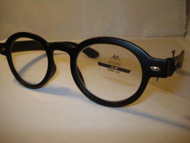 AUTH MONTANA VINTAGE DESIGNER PREPPY ROUND READING GLASSES READERS BLACK 1.00