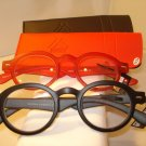 2 PAIR AUTH MONTANA VINTAGE ROUND READING GLASSES READERS BLACK & RED 2.50