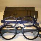 2 PAIR AUTH MONTANA VINTAGE ROUND READING GLASSES READERS BLACK & BLUE 1.50