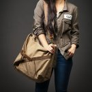 6a. MESSENGER I™ Canvas & Leather shoulder bag messenger. Khaki. FREE DELIVERY