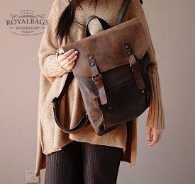 7. Backpack VINTAGE 2 Retro� Canvas cowhide leather. Coffee. FREE DELIVERY