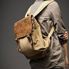 8. Backpack VINTAGE Retro™ Canvas cowhide leather. Khaki. FREE DELIVERY