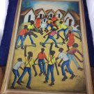 "Vintage 1960s Haitian Oil Painting Signed Felix Jean Haiti Frame 16 X 26"""