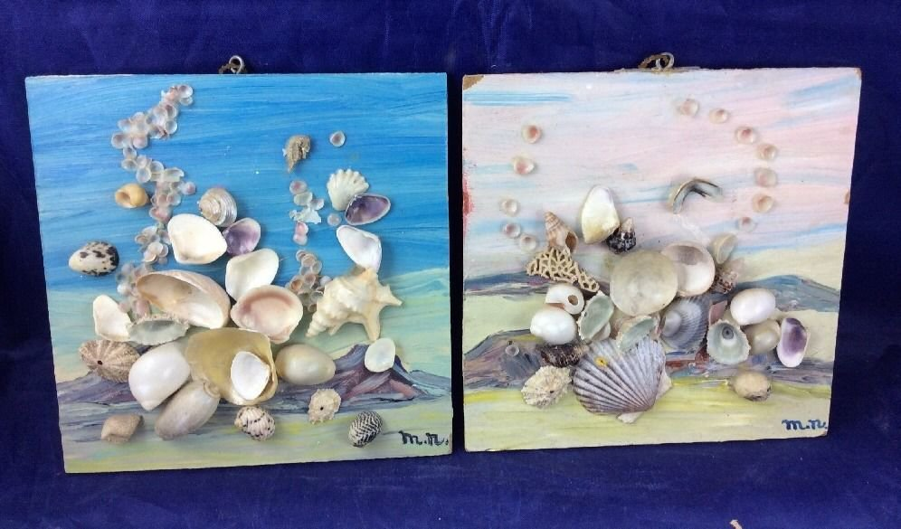 Vintage Sea Shell Folk Art Wall Hanging Paintings 3d With Real Shells Seashell