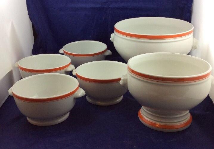 4 vintage Pillivuyt Soup Bowls & 2 Tureens Serving Bowls White & Orange Stripes