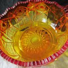 vintage amberina glass bowl with handle~orange and red glass