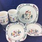 Vintage Pfaltzgraff Selandia Christmas Winter Children's Bowls Cup Plate snowman