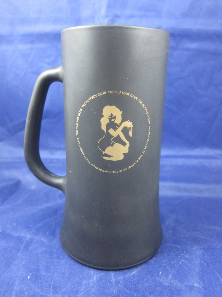 Vintage The Playboy Club black glass mug stein Nude holding a key