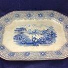 Antique Staffordshire Sirius Octagonal Platter Blue White Transfer Scene England