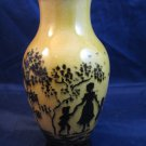 vintage Czechoslovakian yellow lusterware black silhouette vase gold lustreware