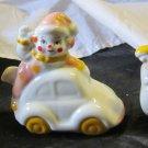 3 vintage Clown figurines~porcelain clowns on plane train & car~FREE US SHIPPING