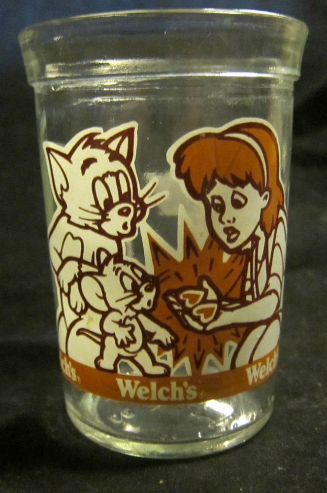 Tom & Jerry the Movie Welch's jelly jar/glass~2 hearts cat~1993~Free US Ship