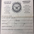 US Department Of Defense Immunization Certificate Form 737 1950s-1960s Vietnam