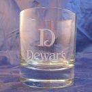 "Dewar's Scotch Whisky glass tumbler~""D"" Dewars whiskey advertising glass"