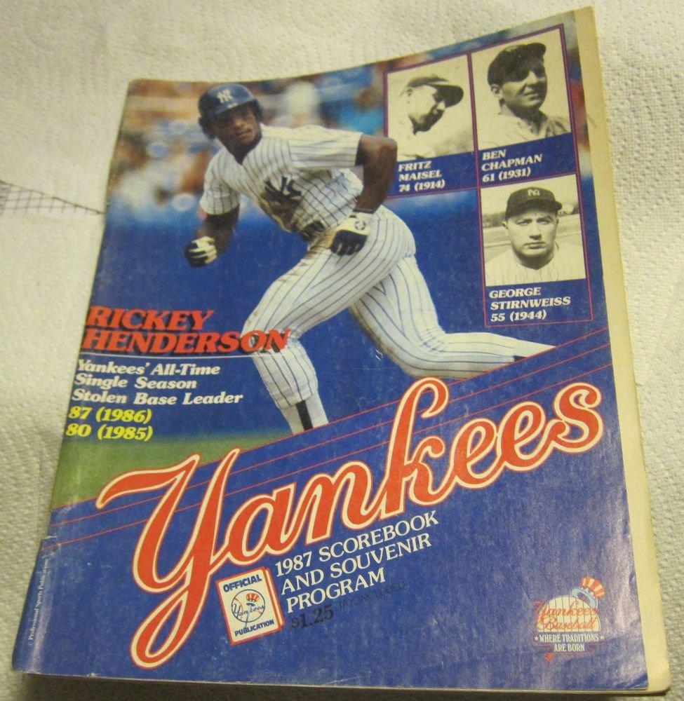1987 New York Yankees scorebook&souvenir program~Rickey Henderson~Boston Red Sox