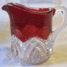 Ruby Flash Glass~pitcher/creamer~Atlantic City souvenir~New Jersey~free US ship