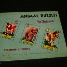 vintage Animal Puzzles for Children by National Games~Standup Cutouts 1950/1960
