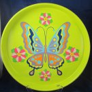 Vintage Retro Butterfly tray by Cheinco Metal Serving Drinks Tray