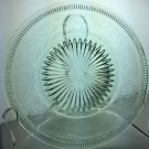 Vintage Green Glass Dish Plate with Fruit and Leaf Design