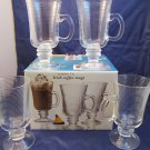 set of 4 7 oz Irish Coffee Mugs clear glass mug new in box Made in Portugal