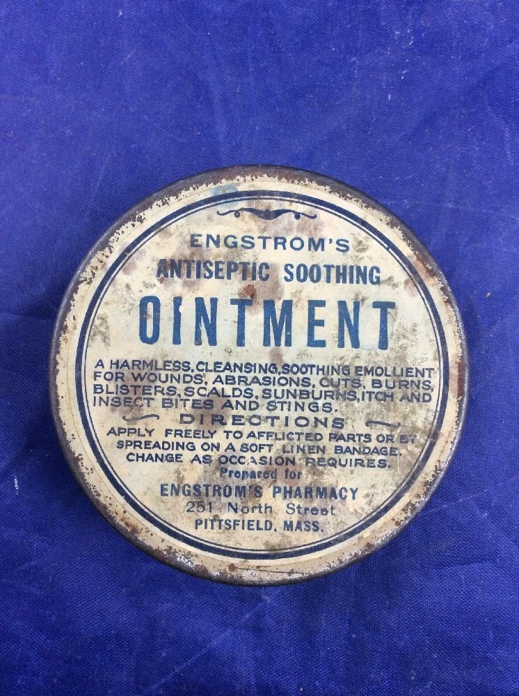 Engstrom's Antiseptic Soothing Ointment Tin Pharmacy Pittsfield MA Antique Drug