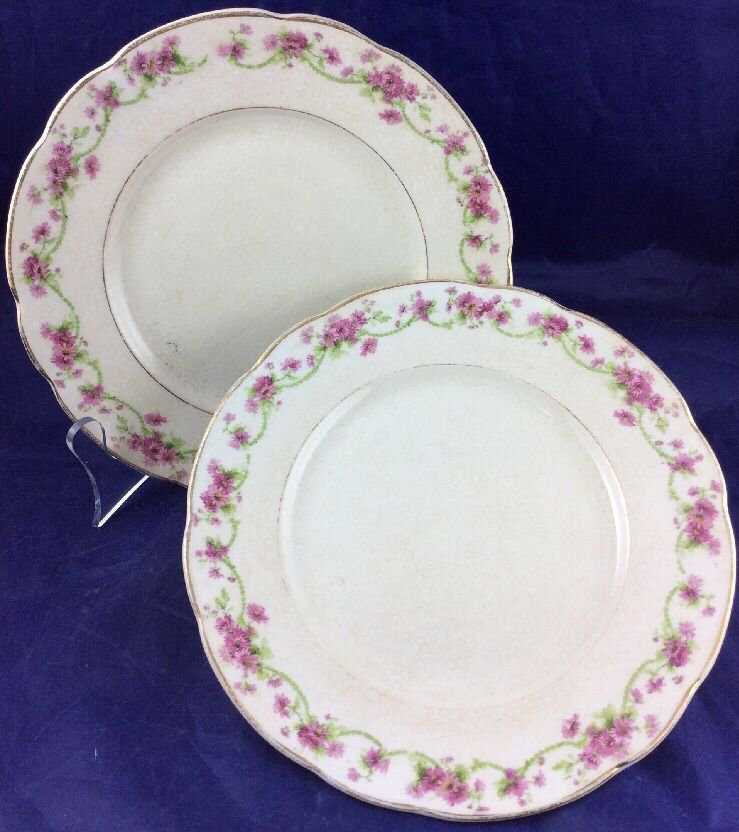 """Mercer Pottery Company 7"""" Plates Dishes Semi-vitreous Off White Pink Flowers"""
