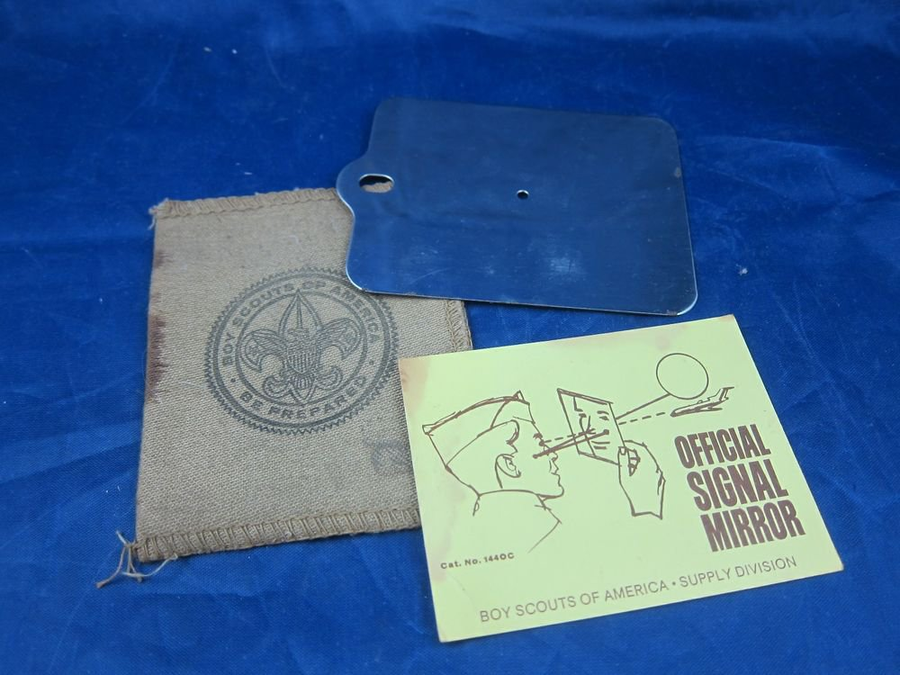 Vintage Boy Scouts of America Officia Signed Mirror with Case and Instructions