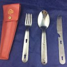 Vintage Girl Scout Chow Kit Scouts Camping Utensils Camp Knife Fork Spoon