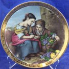 """JKW Western Germany 1930 7.75"""" Plate Dish Boy Girl With Grapes Coins"""