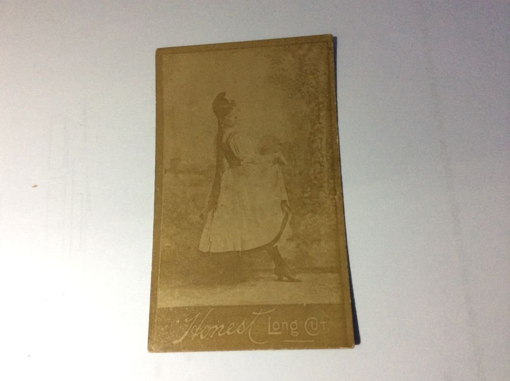 antique Honest Long Cut Tobacco Card with an ALBUMEN photo of an actress~1800s