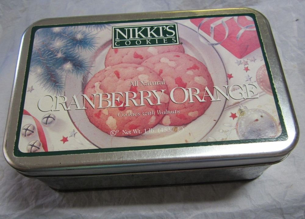 Nikki's Cookies Cranberry Orange Cookie Tin~circa 1990's~FREE US SHIP