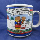 Vintage Russ Berrie Christmas Mug Friends are at the heart of Christmas 2 bears