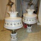 pair of vintage Abigail Adams Quoizel hanging lamps milk glass ceiling lamp