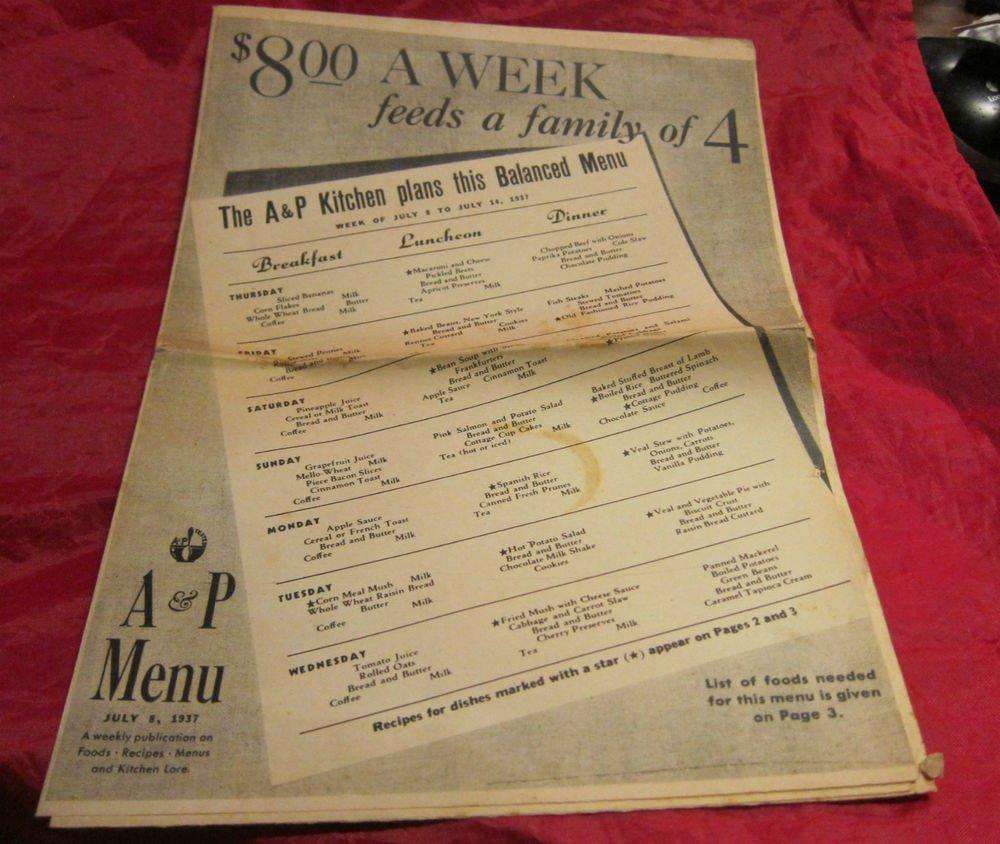 vintage A&P Menu~July 8 1937~supermarket~grocery store promo~freeUS ship